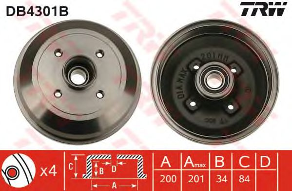 Тормозной барабан TRW DB4301B