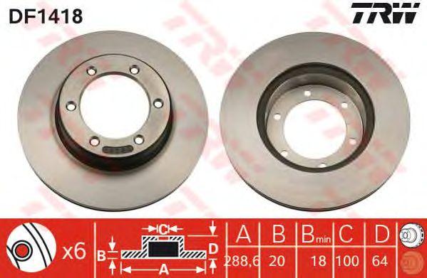 Тормозной диск TRW DF1418