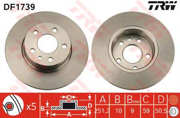 Тормозной диск TRW DF1739