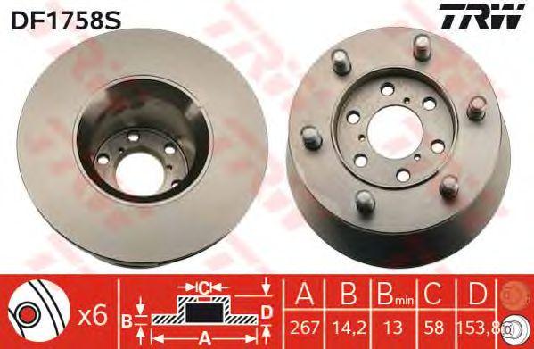 Тормозной диск TRW DF1758S