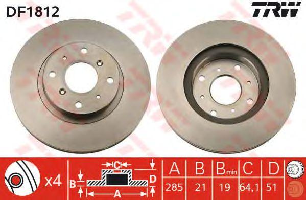Тормозной диск TRW DF1812