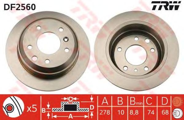 Тормозной диск TRW DF2560