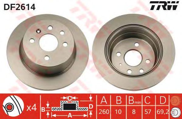 Тормозной диск TRW DF2614