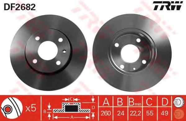 Тормозной диск TRW DF2682