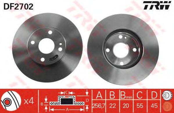 Тормозной диск TRW DF2702