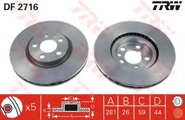 Тормозной диск TRW DF2716