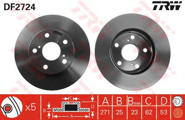 Тормозной диск TRW DF2724
