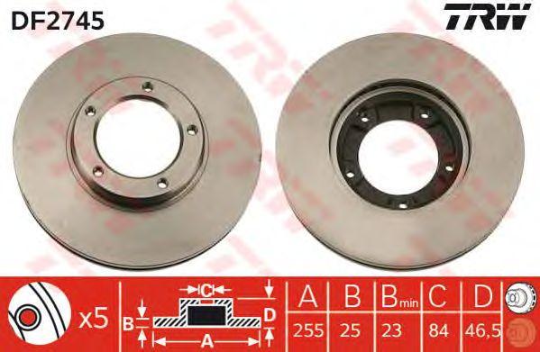 Тормозной диск TRW DF2745