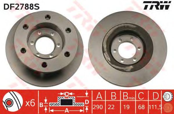 Тормозной диск TRW DF2788S