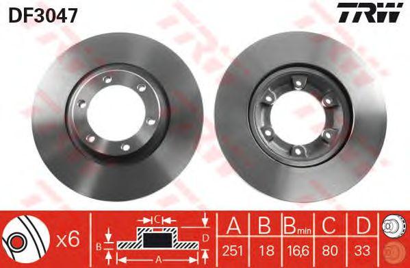 Тормозной диск TRW DF3047