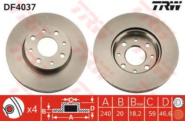 Тормозной диск TRW DF4037