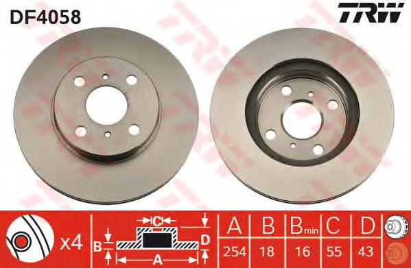 Тормозной диск TRW DF4058