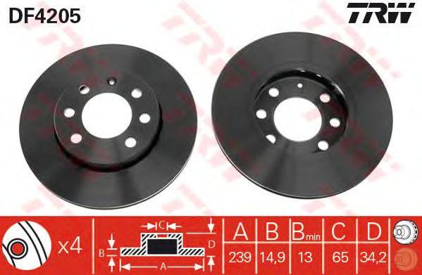 Тормозной диск TRW DF4205
