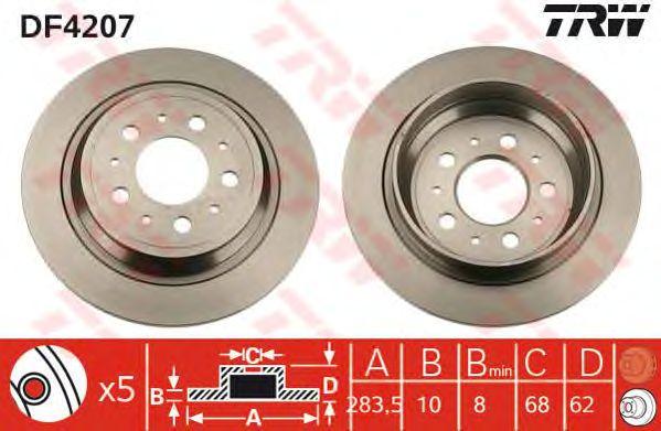 Тормозной диск TRW DF4207