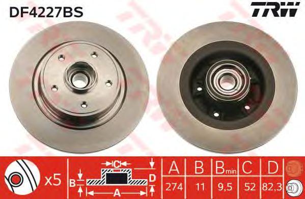 Тормозной диск TRW DF4227BS