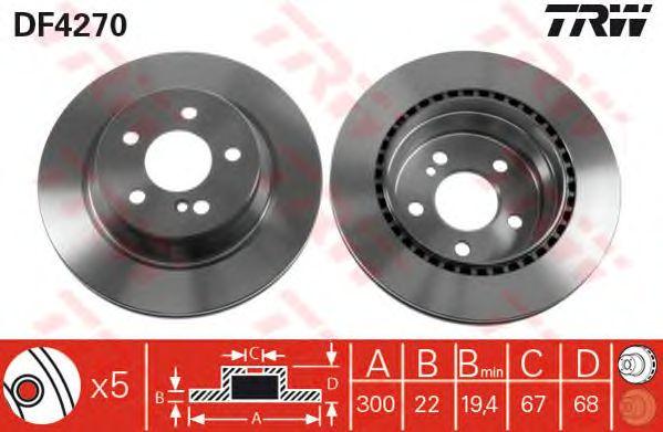 Тормозной диск TRW DF4270