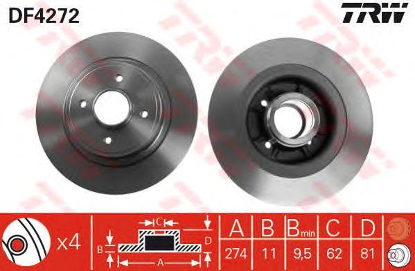Тормозной диск TRW DF4272
