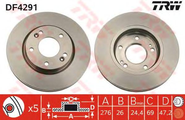 Тормозной диск TRW DF4291