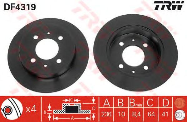 Тормозной диск TRW DF4319