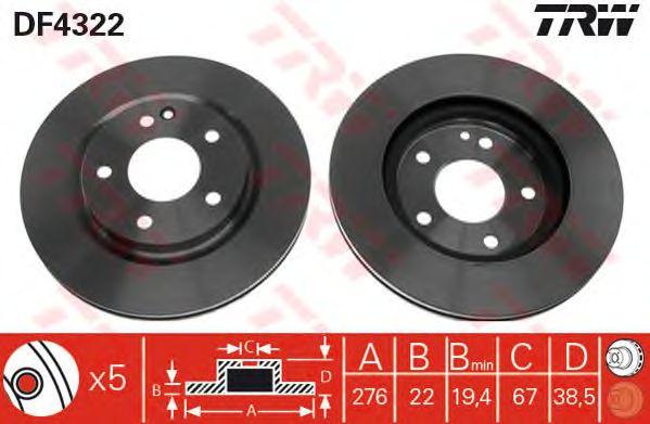 Тормозной диск TRW DF4322