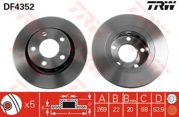 Тормозной диск TRW DF4352