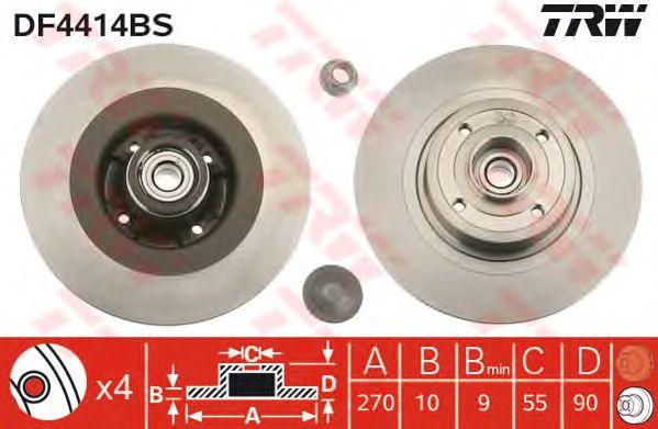 Тормозной диск TRW DF4414BS