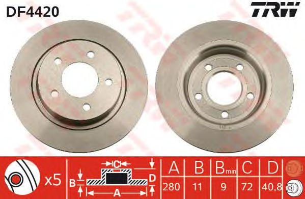 Тормозной диск TRW DF4420