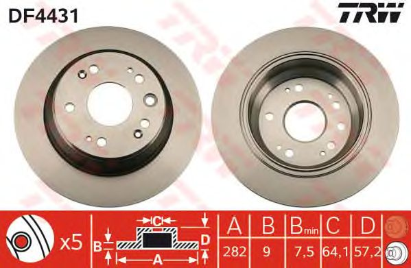 Тормозной диск TRW DF4431