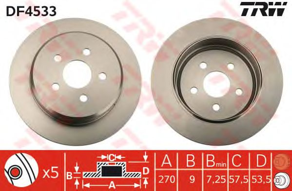 Тормозной диск TRW DF4533