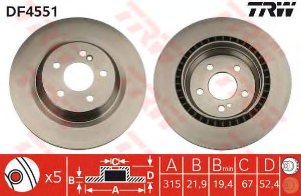 Тормозной диск TRW DF4551