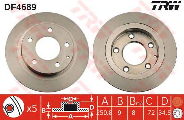 Тормозной диск TRW DF4689