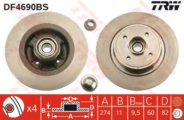 Тормозной диск TRW DF4690BS