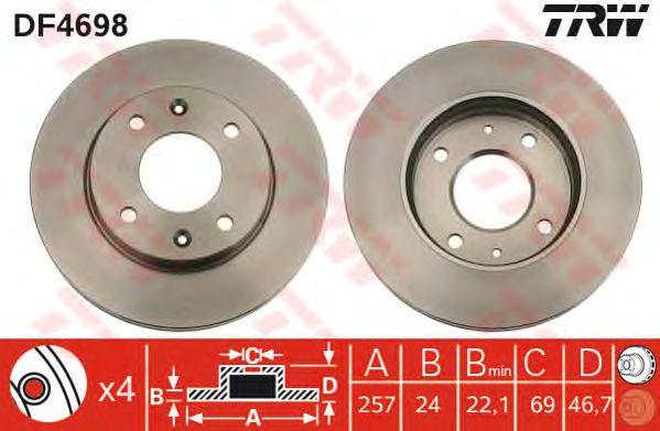 Тормозной диск TRW DF4698