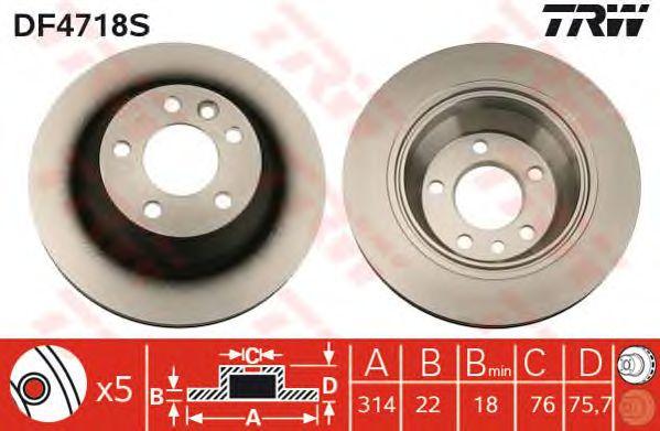 Тормозной диск TRW DF4718S