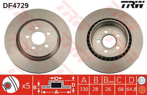 Тормозной диск TRW DF4729