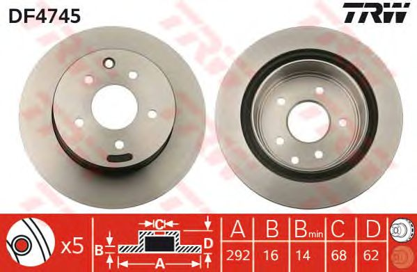 Тормозной диск TRW DF4745