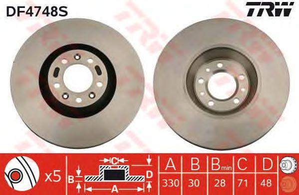 Тормозной диск TRW DF4748S