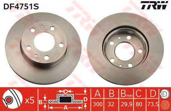 Тормозной диск TRW DF4751S