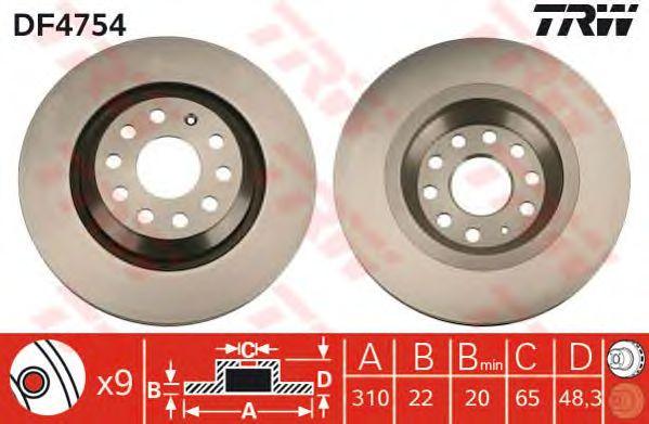Тормозной диск TRW DF4754