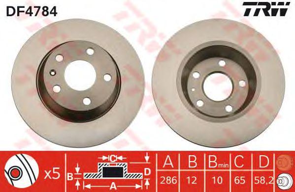 Тормозной диск TRW DF4784