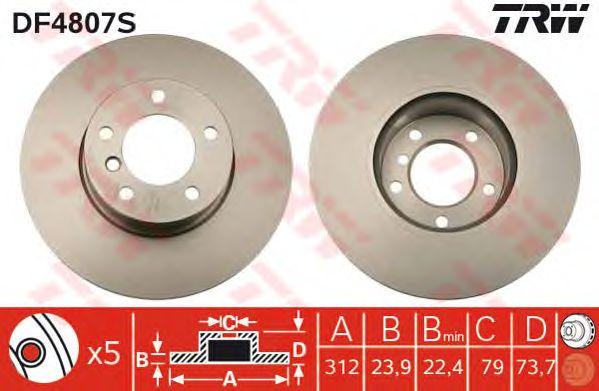 Тормозной диск TRW DF4807S