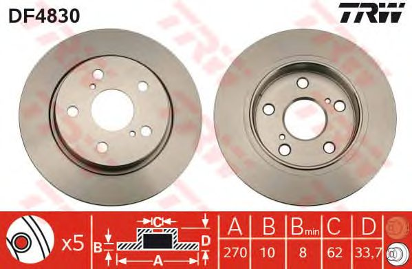 Тормозной диск TRW DF4830