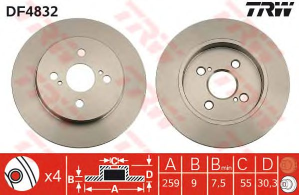 Тормозной диск TRW DF4832