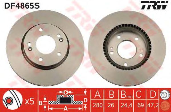 Тормозной диск TRW DF4865S