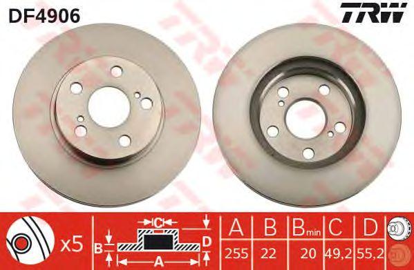 Тормозной диск TRW DF4906