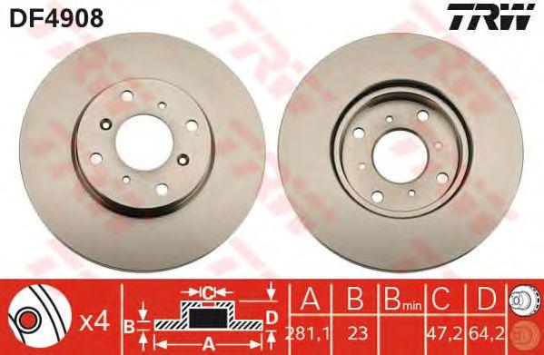 Тормозной диск TRW DF4908