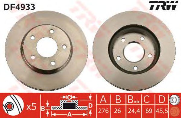 Тормозной диск TRW DF4933