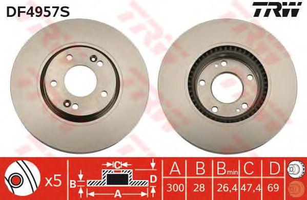Тормозной диск TRW DF4957S