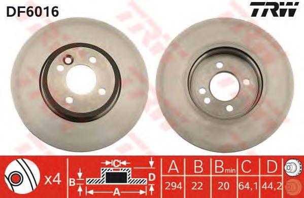 Тормозной диск TRW DF6016
