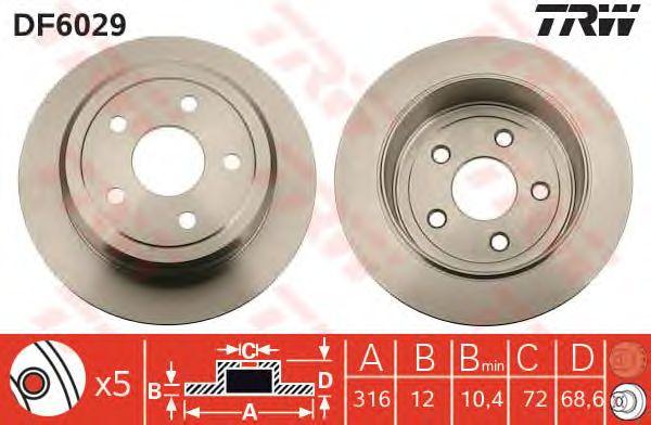Тормозной диск TRW DF6029